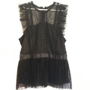 NWT Heartloom lace ruffle pleplum babydoll top